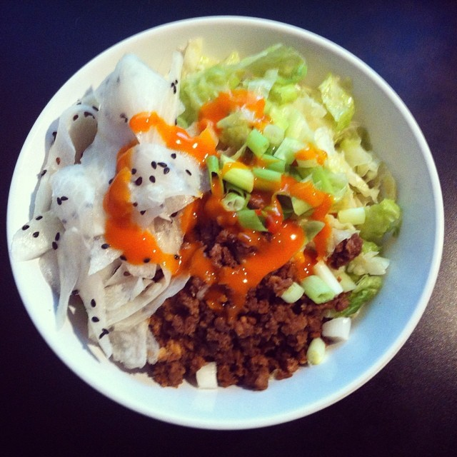 Noodles with Pork, Cabbage, Daikon Sesame Salad