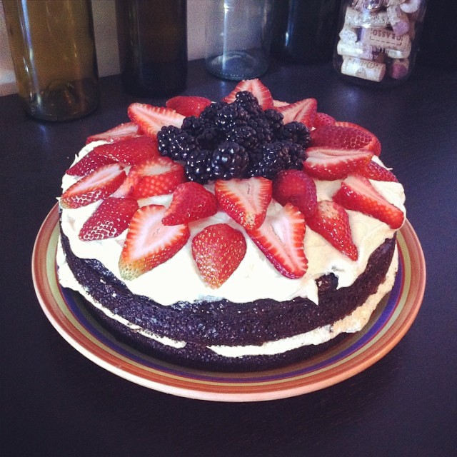 Chocolate Cake with Vanilla Frosting & Berries
