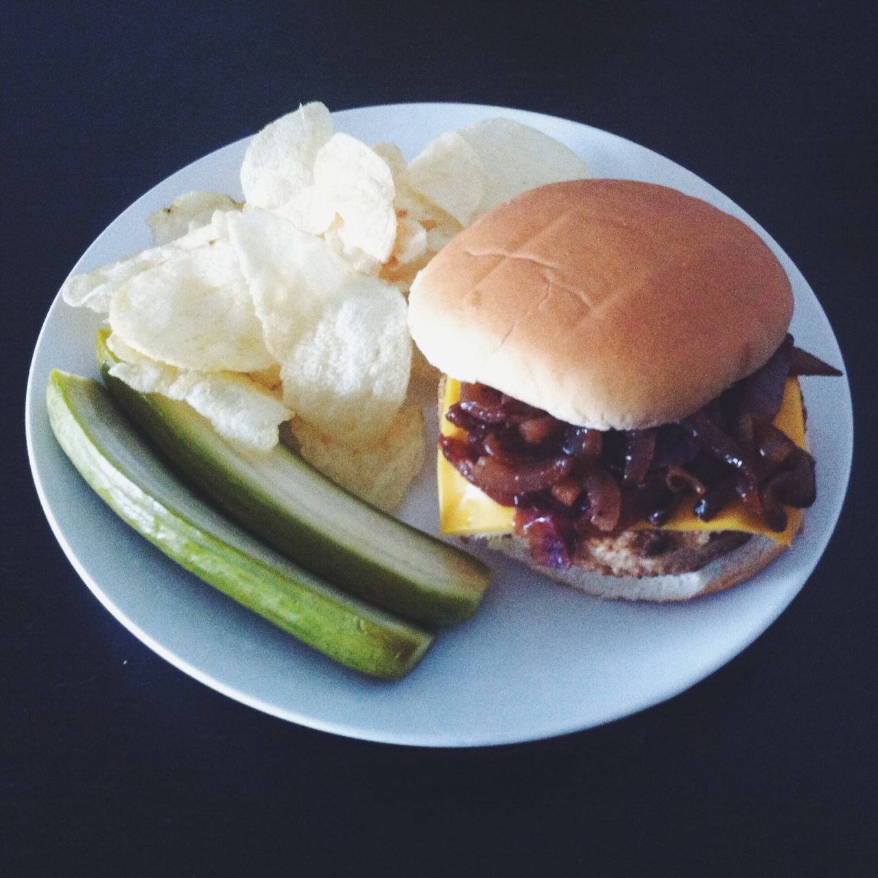 Veggie Burgers with Caramelized Onions