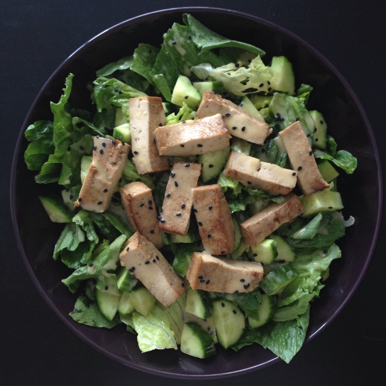 Marinated Tofu & Cucumber Salad with Sesame Miso Dressing
