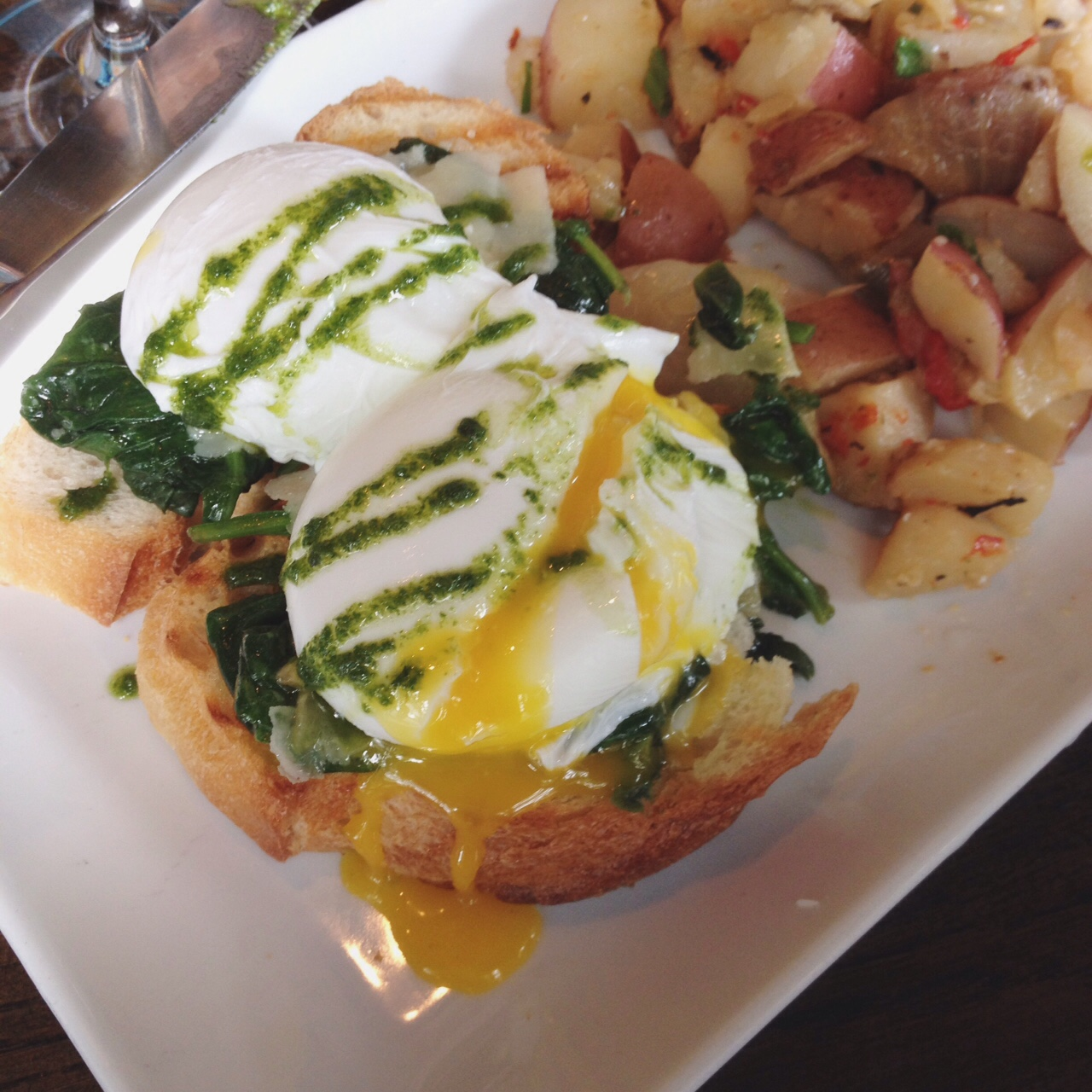 Poached Eggs and Spinach, Maple