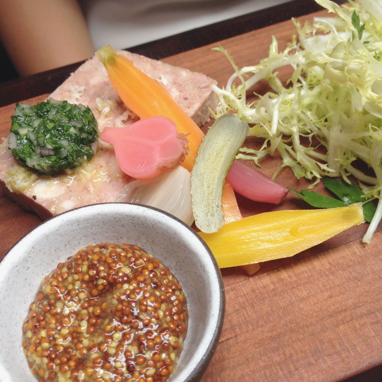 Terrine with Mustard, Pickles, Miche