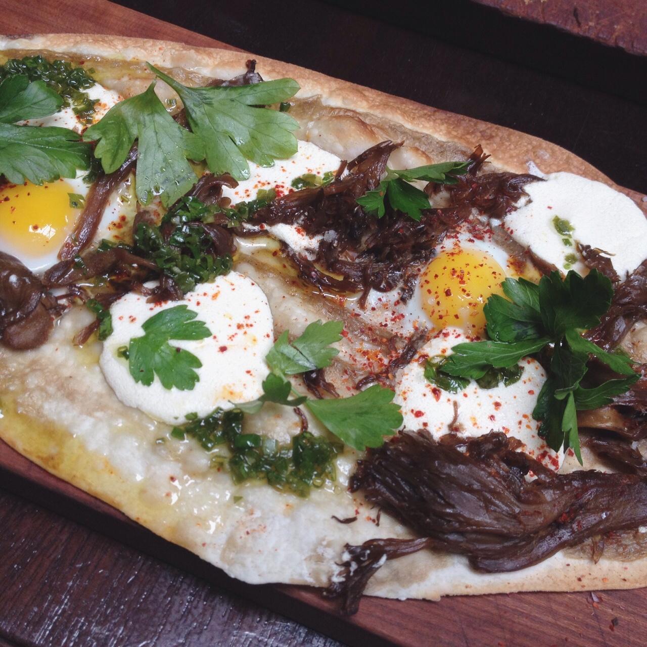 Mushroom Tarte, Ricotta, Quail Egg, Salsa Verde - Nomad