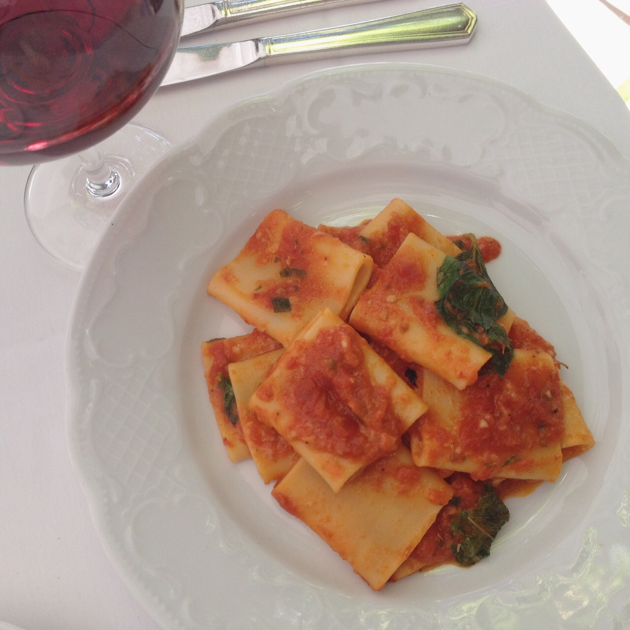 Paccheri with tomato basil sauce, Barbetta