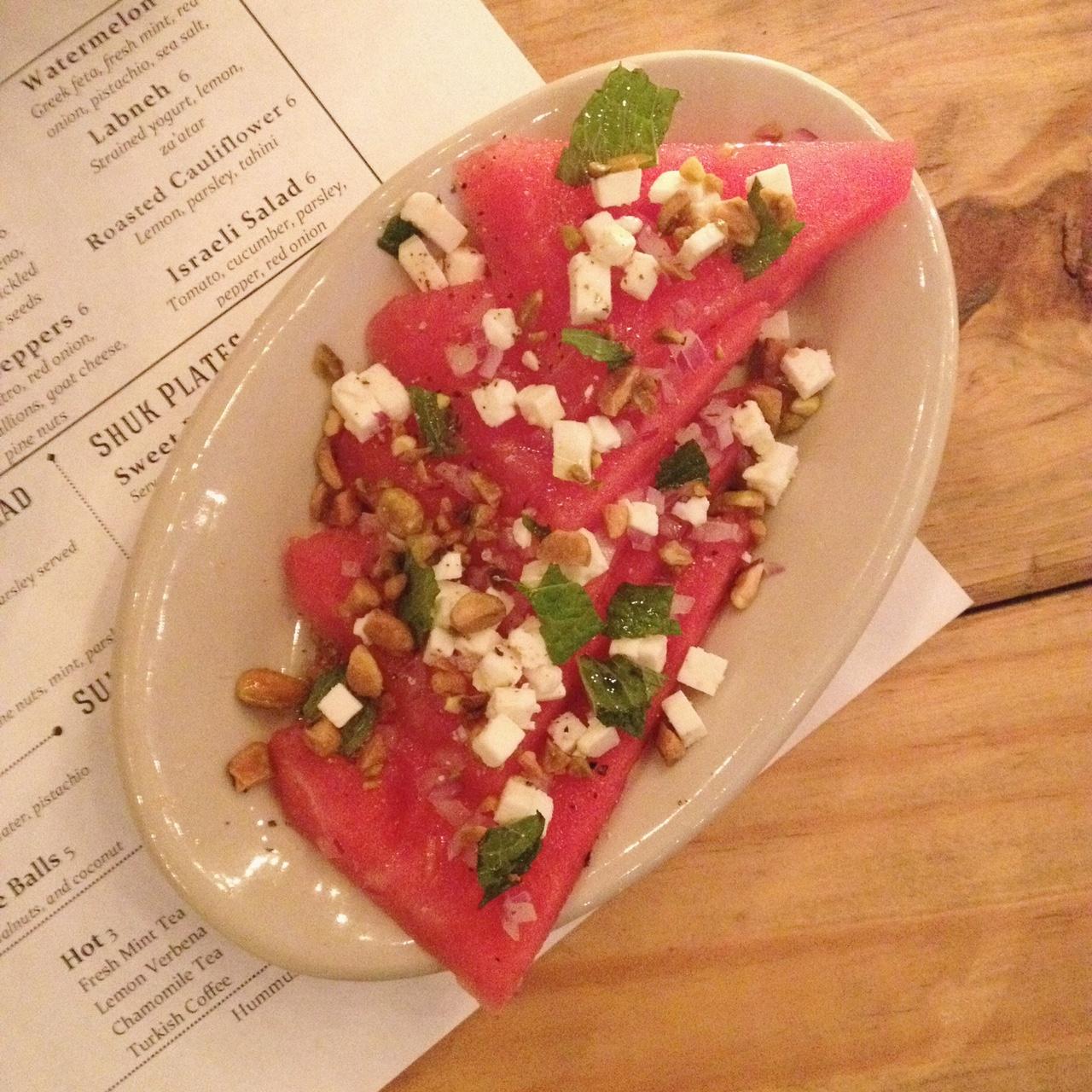 Watermelon with Feta, Hummus Market