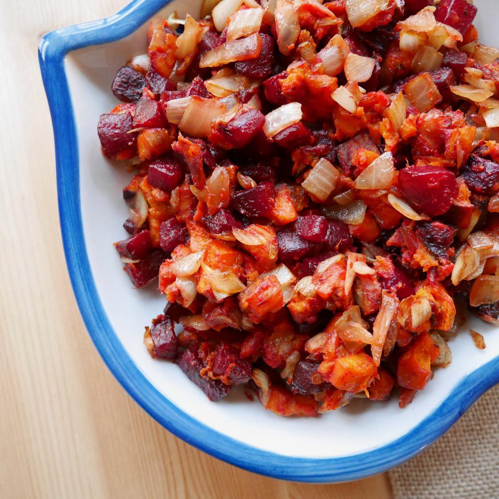 Beet & Sweet Potato Hash, Vegan Thanksgiving