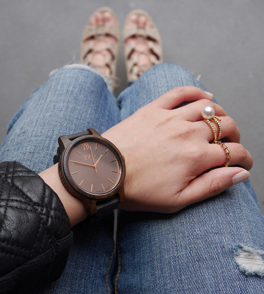 JORD Wood Watch, Denim & Leather