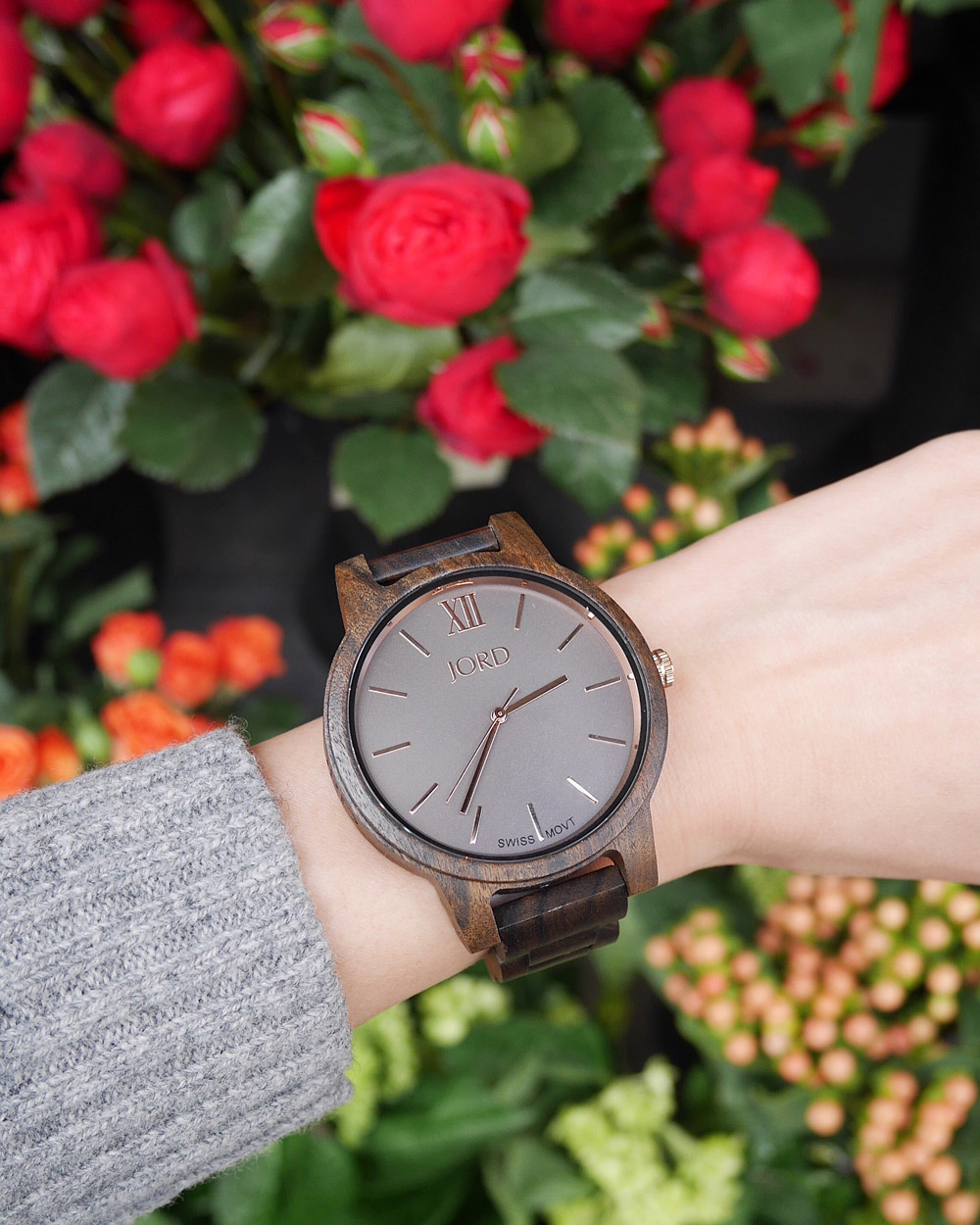 JORD Wood Watch, Sammy's Flowers, Portland Pearl