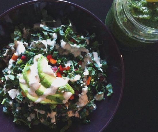 Kale Salad & Spinach Smoothie