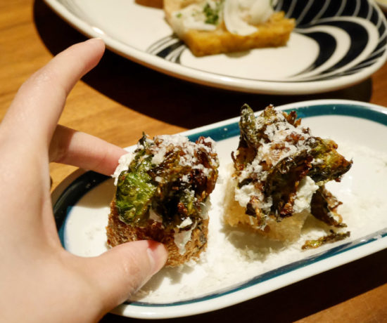 Roasted Brussels Sprouts Crostini, Butter