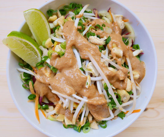 Daikon Rainbow Carrot Pad Thai, Forelle Raw Vegan Plant-Based Meal Delivery, Portland