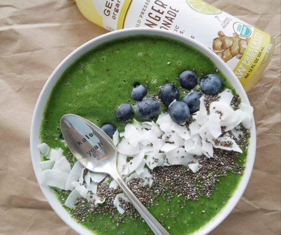 Green Smoothie Bowl with Genesis Juice Ginger Lemonade