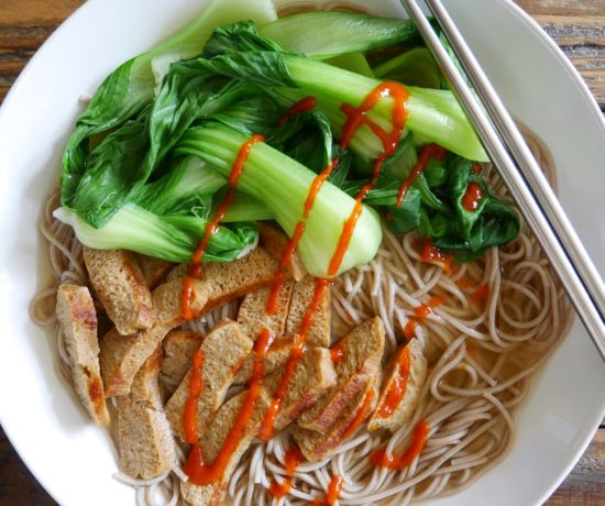 Miso Soba Soup with Seitan & Bok Choy
