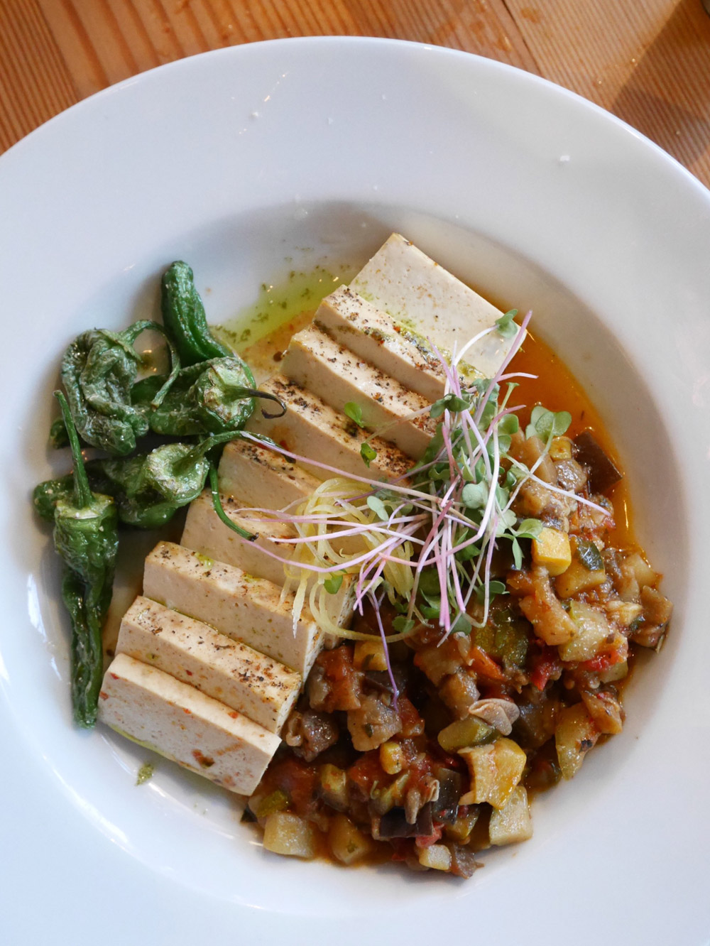 Smoked & Spiced Tofu with Summer Ratatouille, SouthFork Vegan Popup, Portland