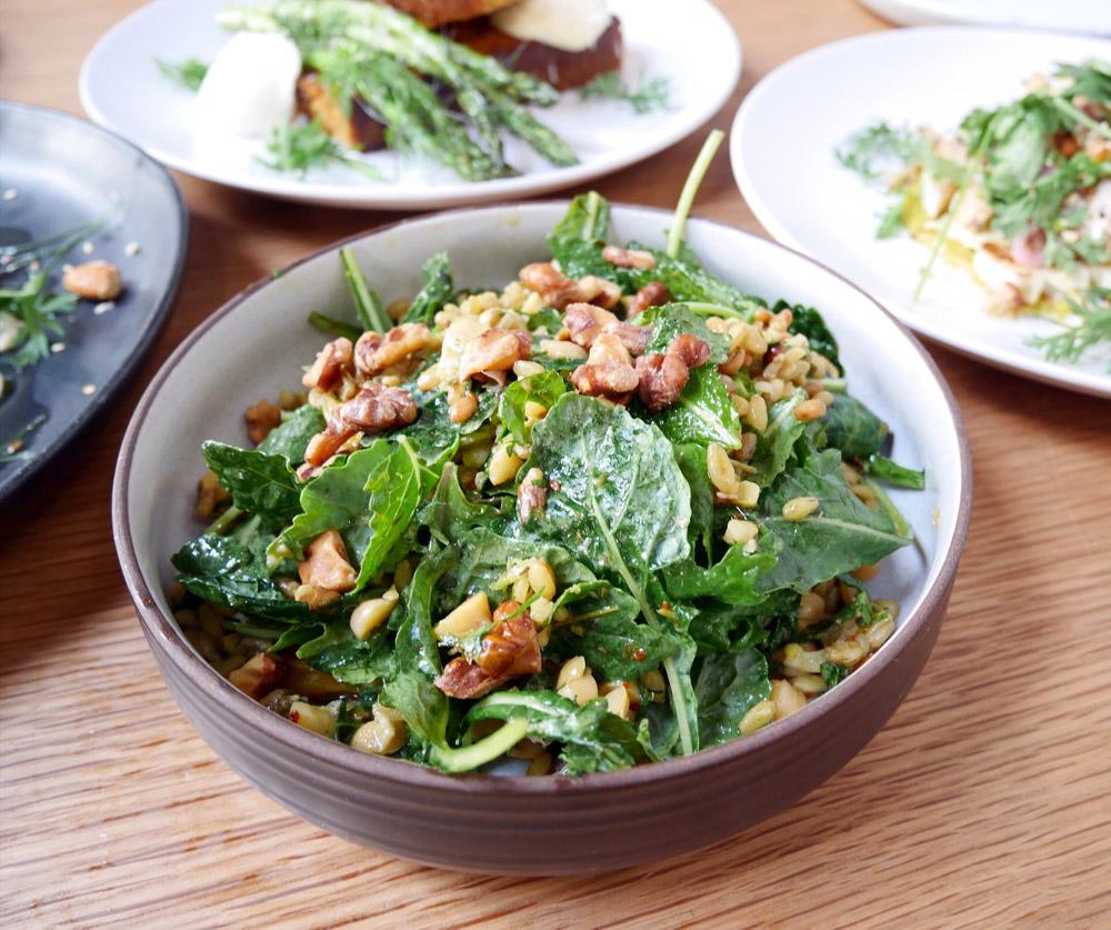 Granary Avenue Salad, Vegan Vegetarian Brunch, Proud Mary Coffee
