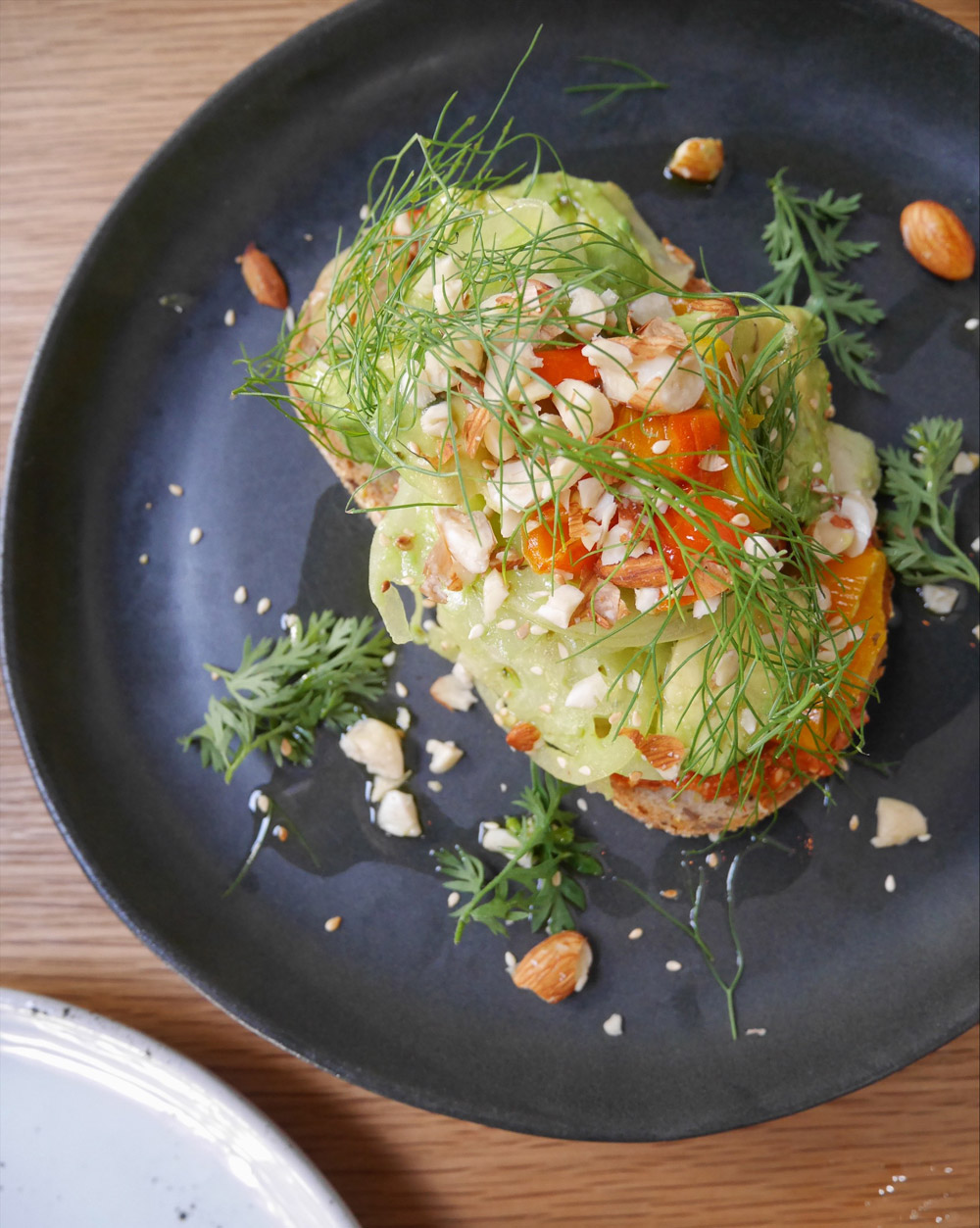 Harissa Avocado Toast, Vegan Vegetarian Brunch, Proud Mary Coffee