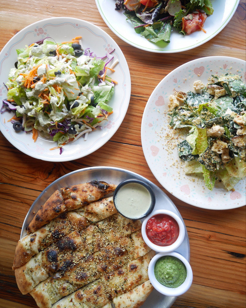 Vegan Breadsticks and Salads, Red Sauce Pizza, Portland