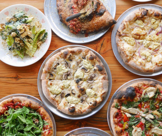 Veganizer PDX Pizza Popup with Pies, Calzones, Breadsticks and Salads, Red Sauce Pizza, Portland