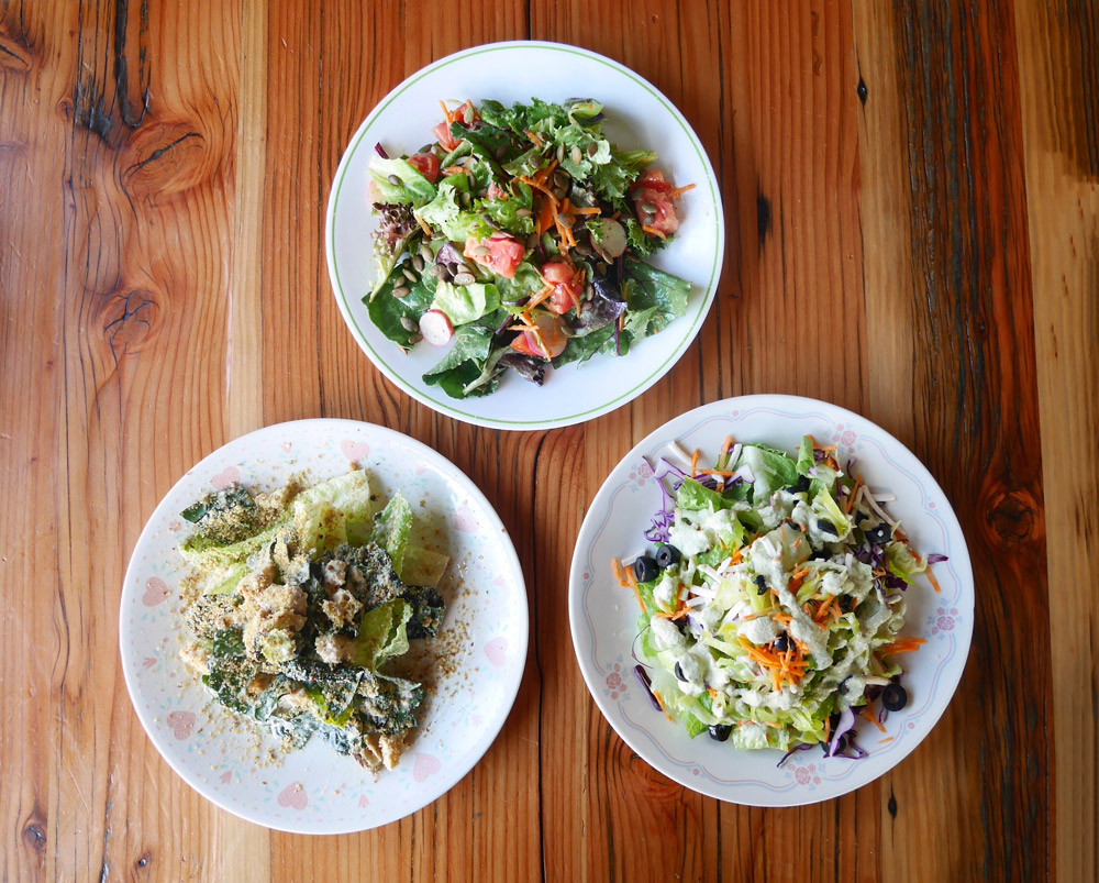 Vegan House and Caesar Salads, Red Sauce Pizza, Portland