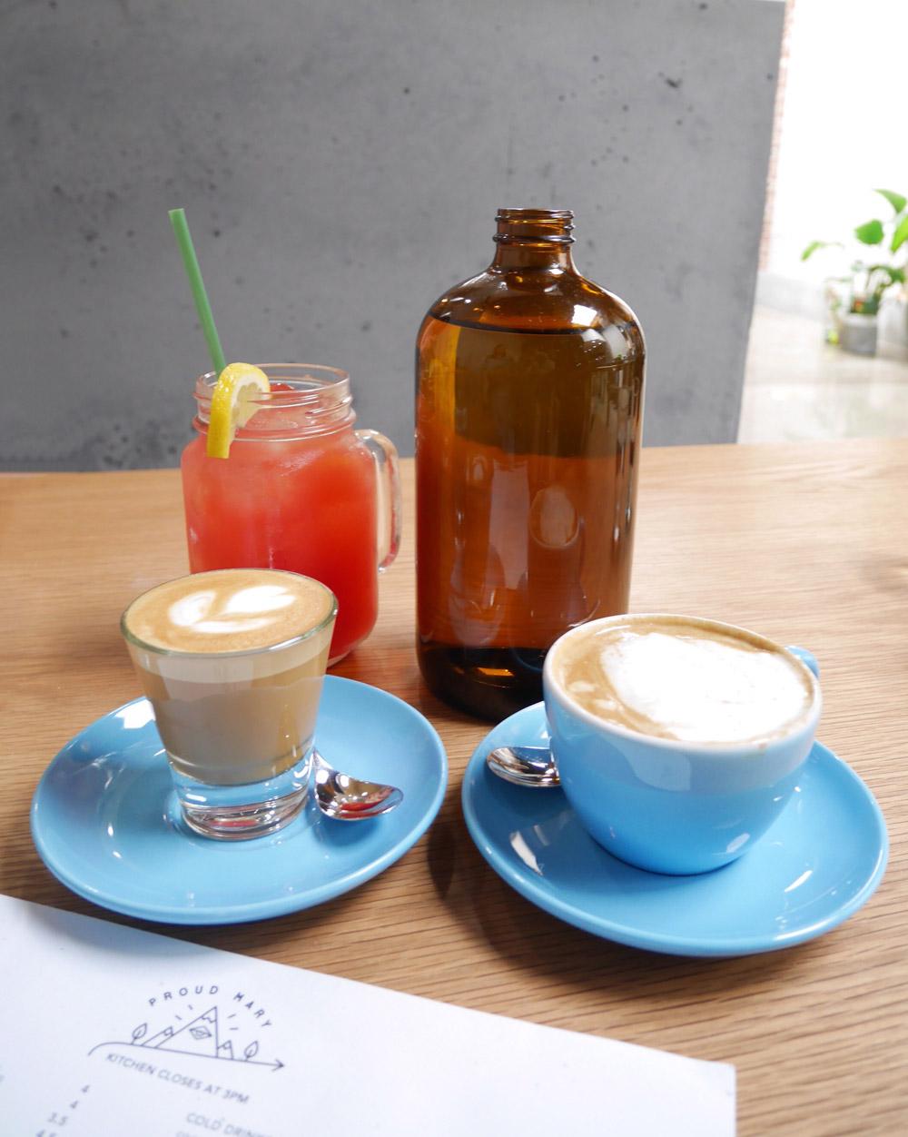 Proud Mary Coffee, Flat White, Pink Crush Juice, NE Portland