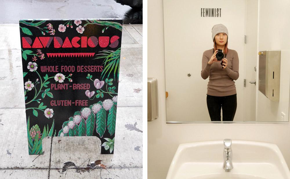Tiny Moreso Cafe, Rawdacious Vegan Desserts, Feminist Bathroom Wall, Portland