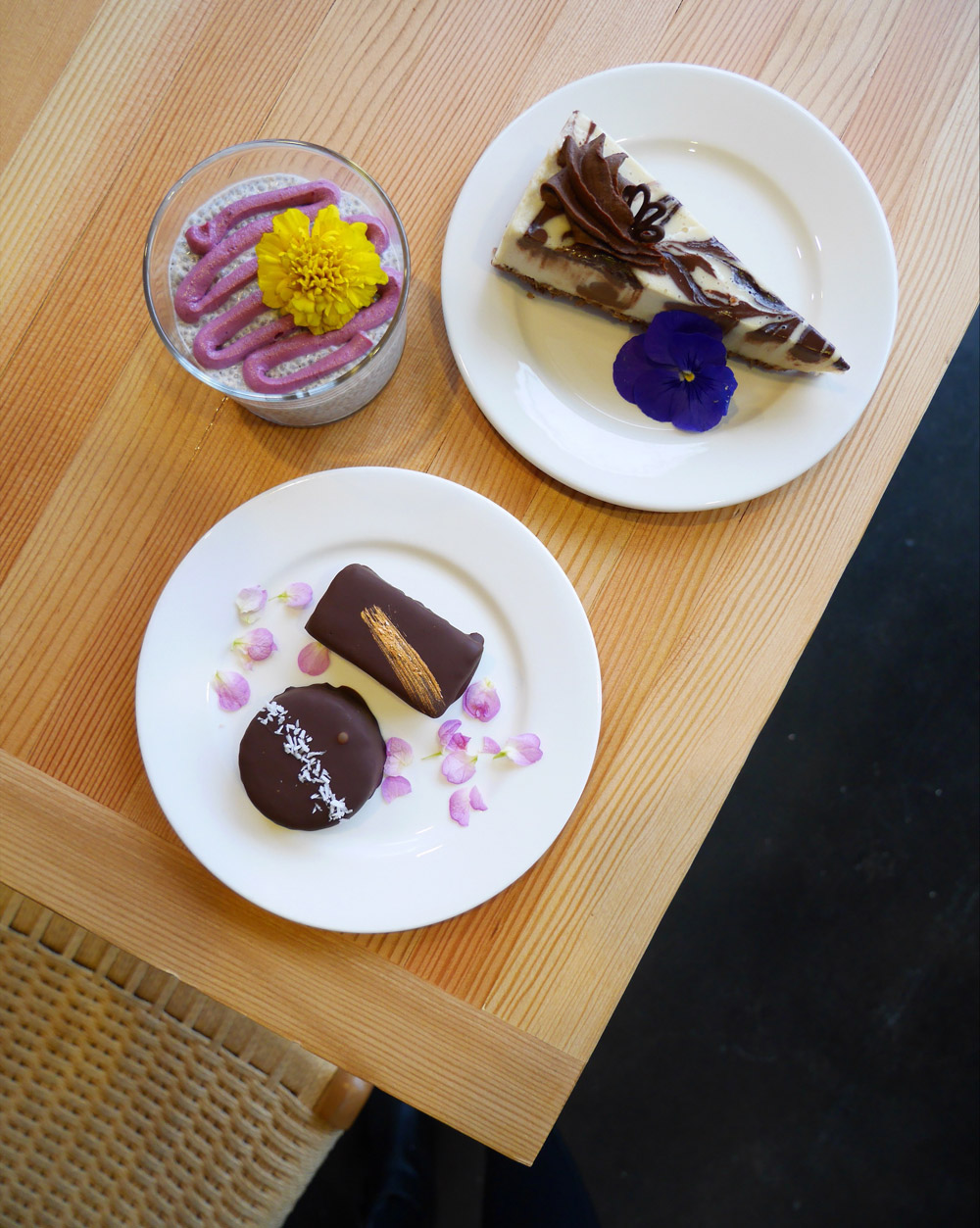 Rawdacious Vegan Cheesecake, Chia Seed Pudding, Raw Fudge, Tiny Moreso Cafe, Portland