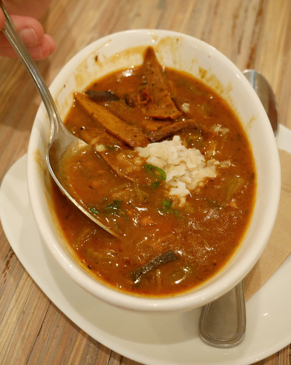 Vegan Gumbo with Spicy Seitan, Seed, New Orleans