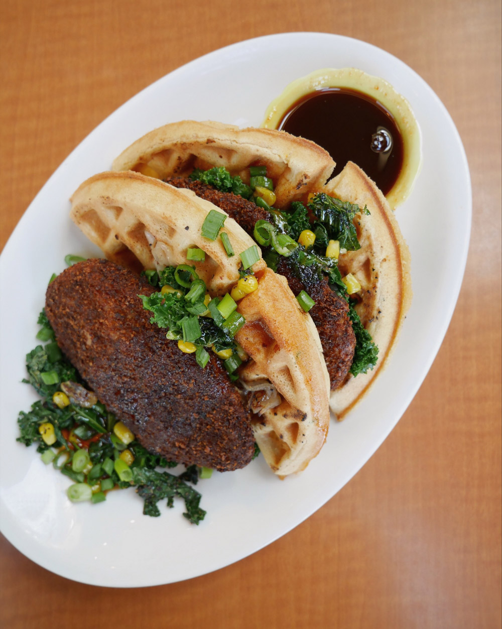 Vegan Chicken and Waffles, Native Foods Cafe, Bridgeport Village