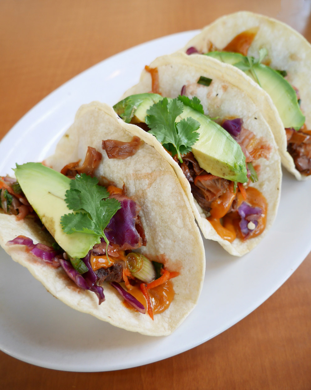Vegan Bulgogi Kimchi Tacos, Native Foods Cafe, Bridgeport Village