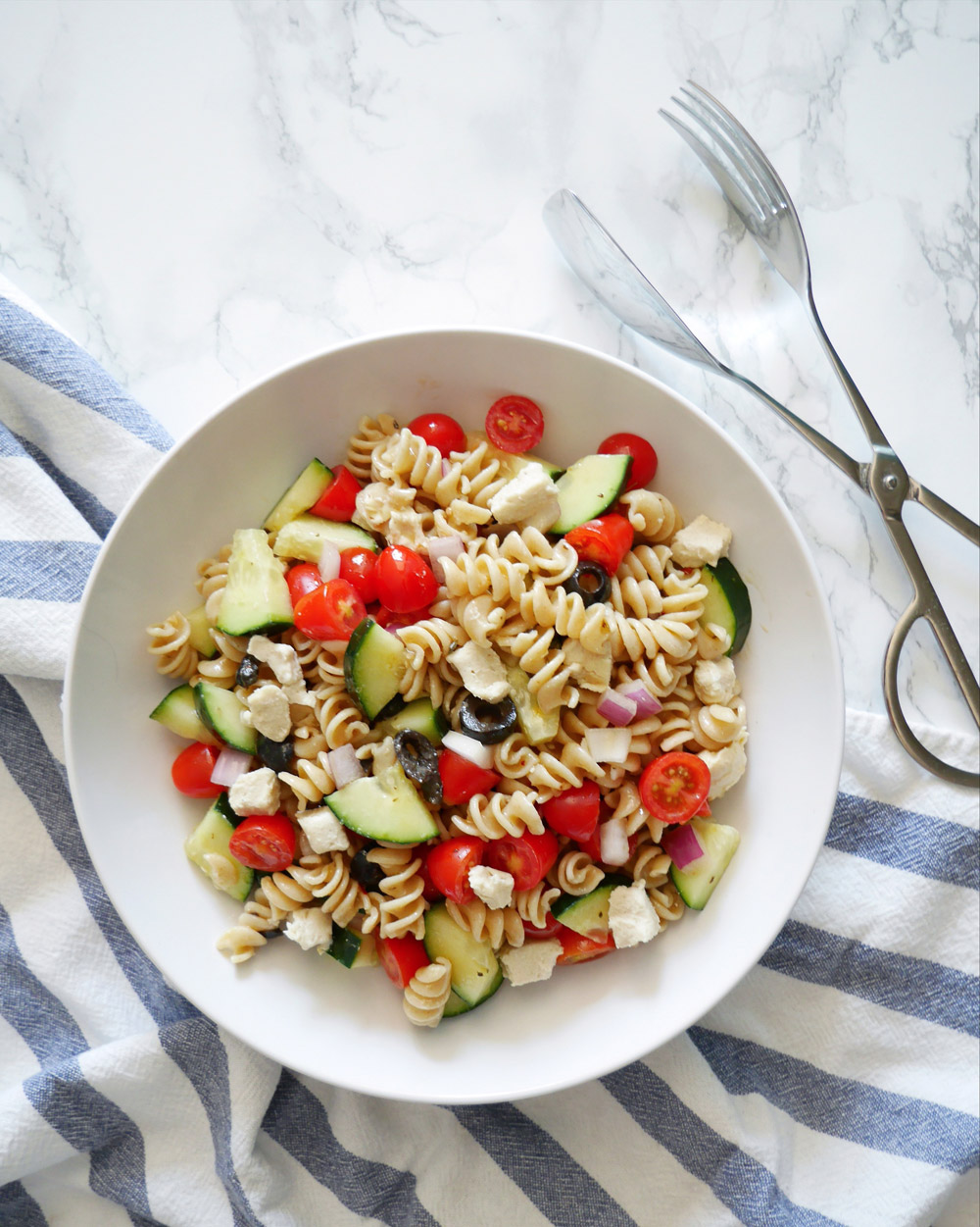 Easy Vegan Greek Pasta Salad Recipe