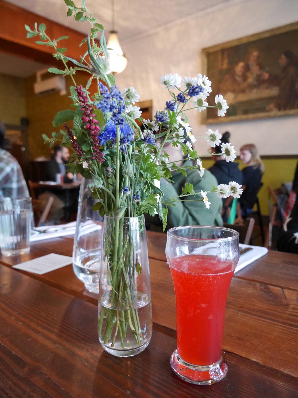 Raspberry Elderflower Kombucha, Folklore Plant-Based Agrarian Popup by Sean Sigmon, Portland