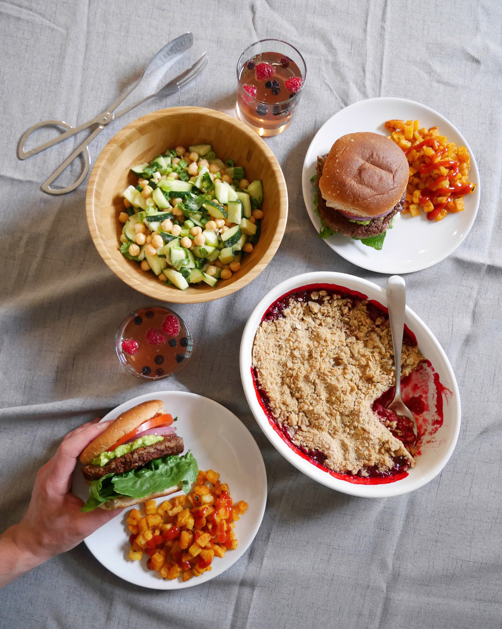 Plant-Based Burger, Cucumber & Chickpea Salad, Raspberry Crisp, Summer Celebration Menu