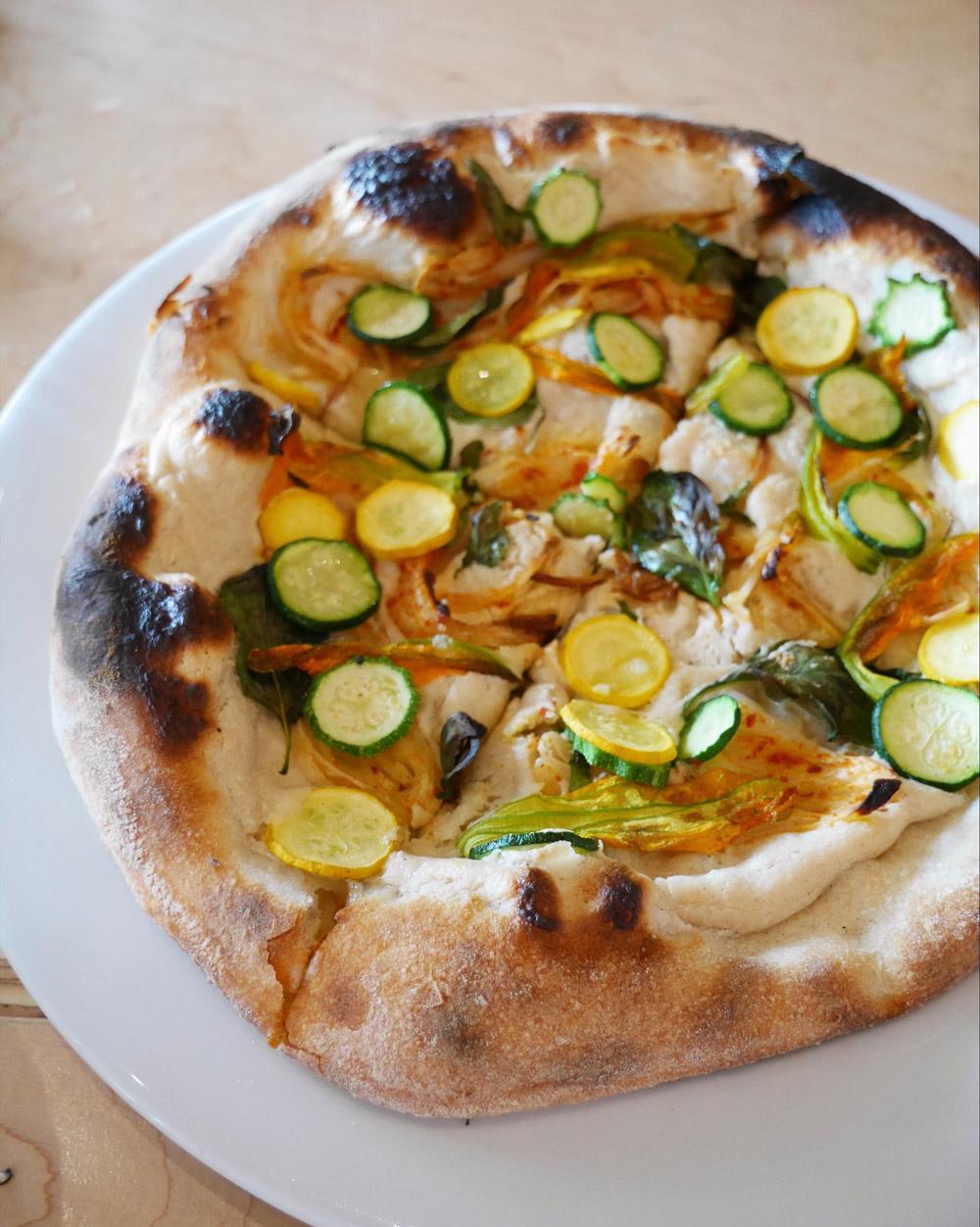 Squash Blossom Pizza, Rally Pizza, Midsummer Harvest Quarterly Dinner Series