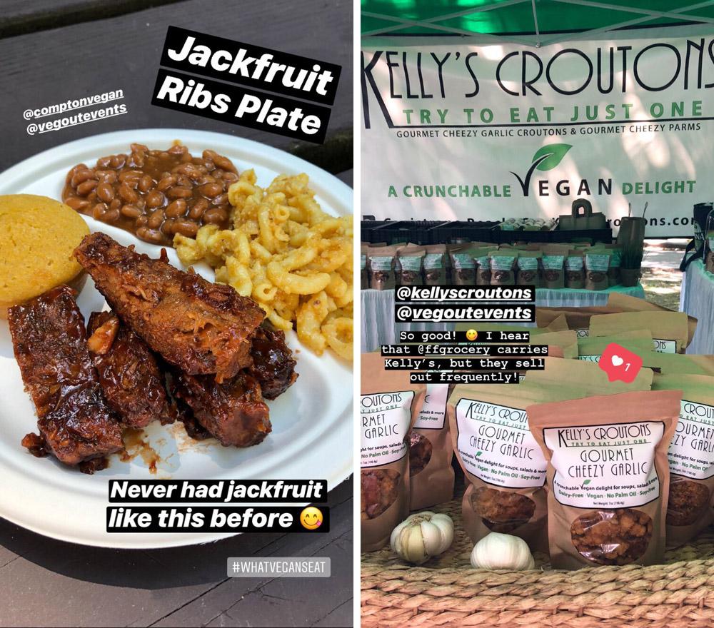 Compton Vegan BBQ Jackfruit Ribs Plate, Kelly's Croutons, VegOut Portland