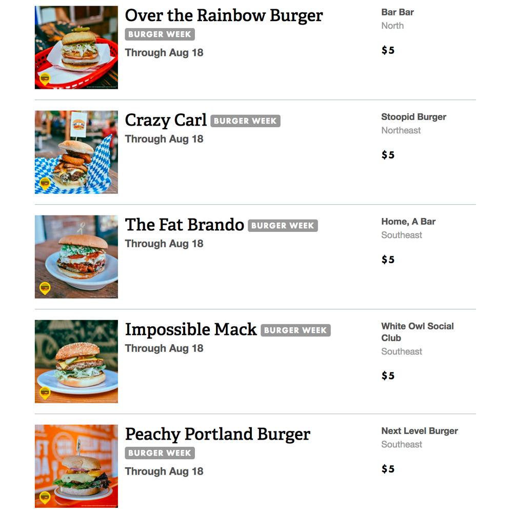 Portland Burger Week 2018 - Vegan Burger Options