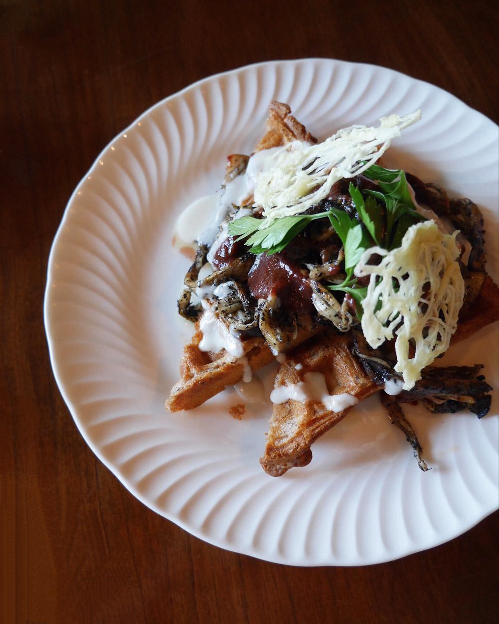 Savory Spelt Waffle - Folklore Brunch Popup at Blank Slate Bar