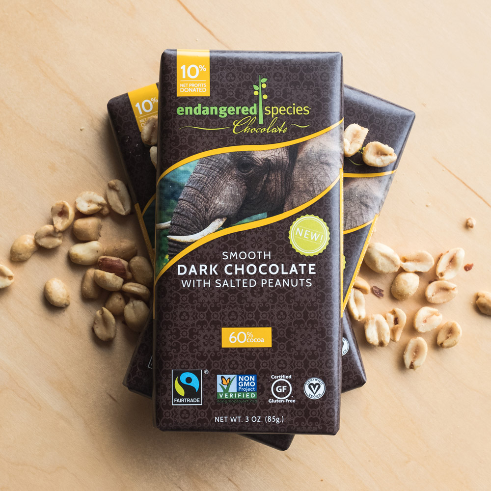 Endangered Species Chocolate - Elephant Bar Dark Chocolate with Salted Peanuts