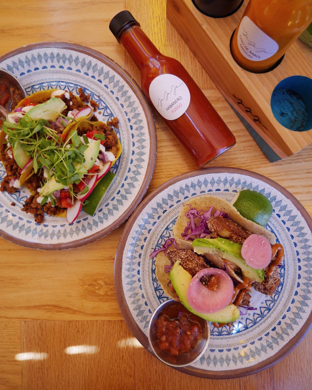 Jajaja - Chayote Fish Tacos, Chorizo Tacos