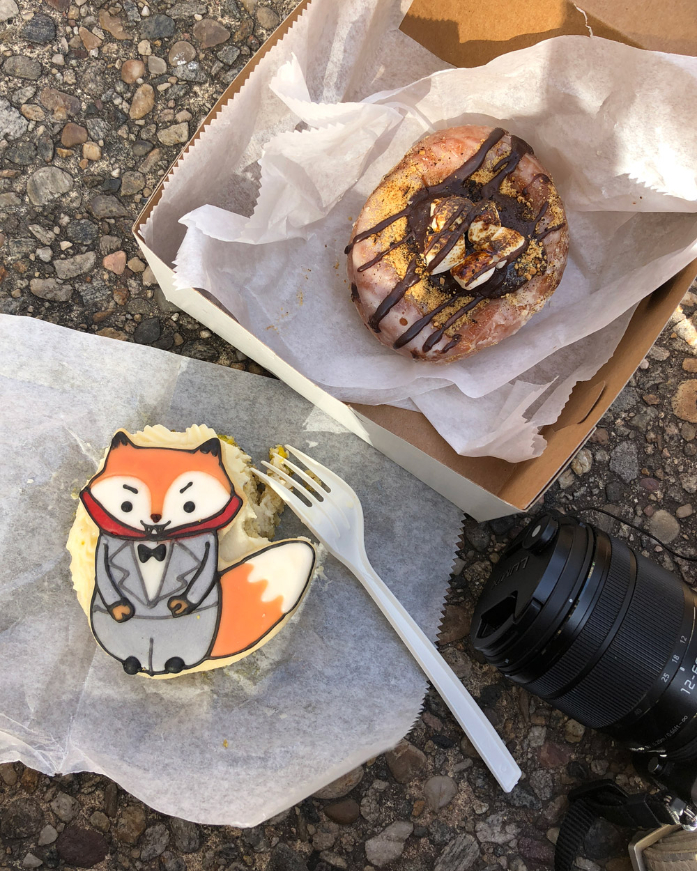 The Cinnamon Snail - Pistachio Vampire Fox Cake, Chocolate Ganache Stuffed S'mores Donut