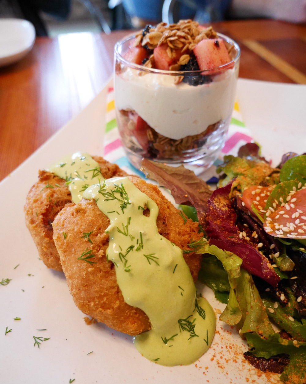 Epif Vegan Brunch - Combo Plate with Dill Cakes, Salad, Parfait