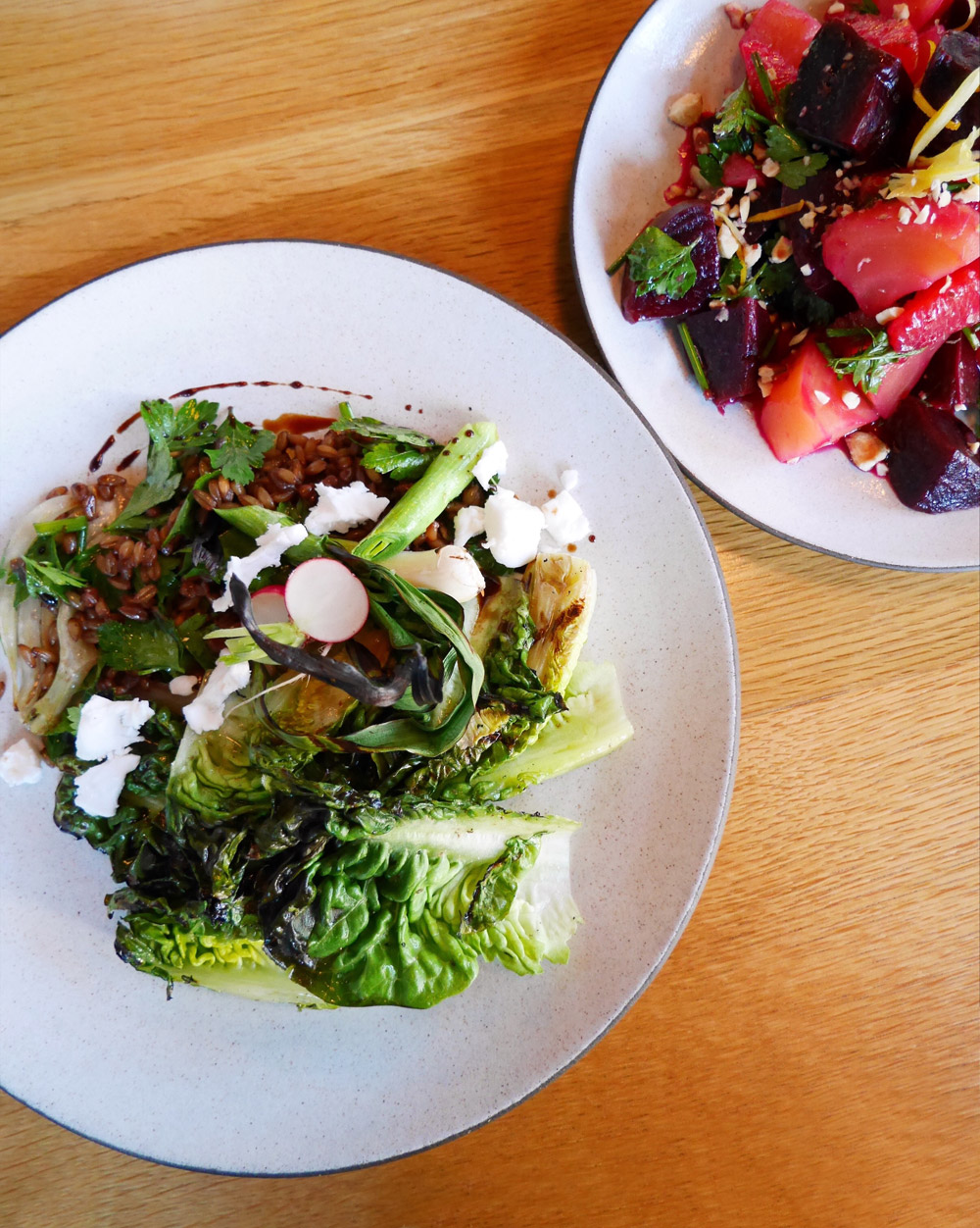 Estes, Dame Collective, Romaine and Farro Salad, Beet Salad