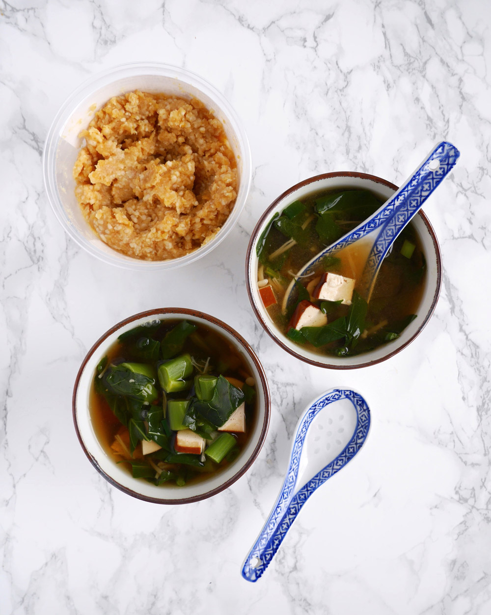 Chickpea Miso Soup with Beancurd and Chinese Broccoli