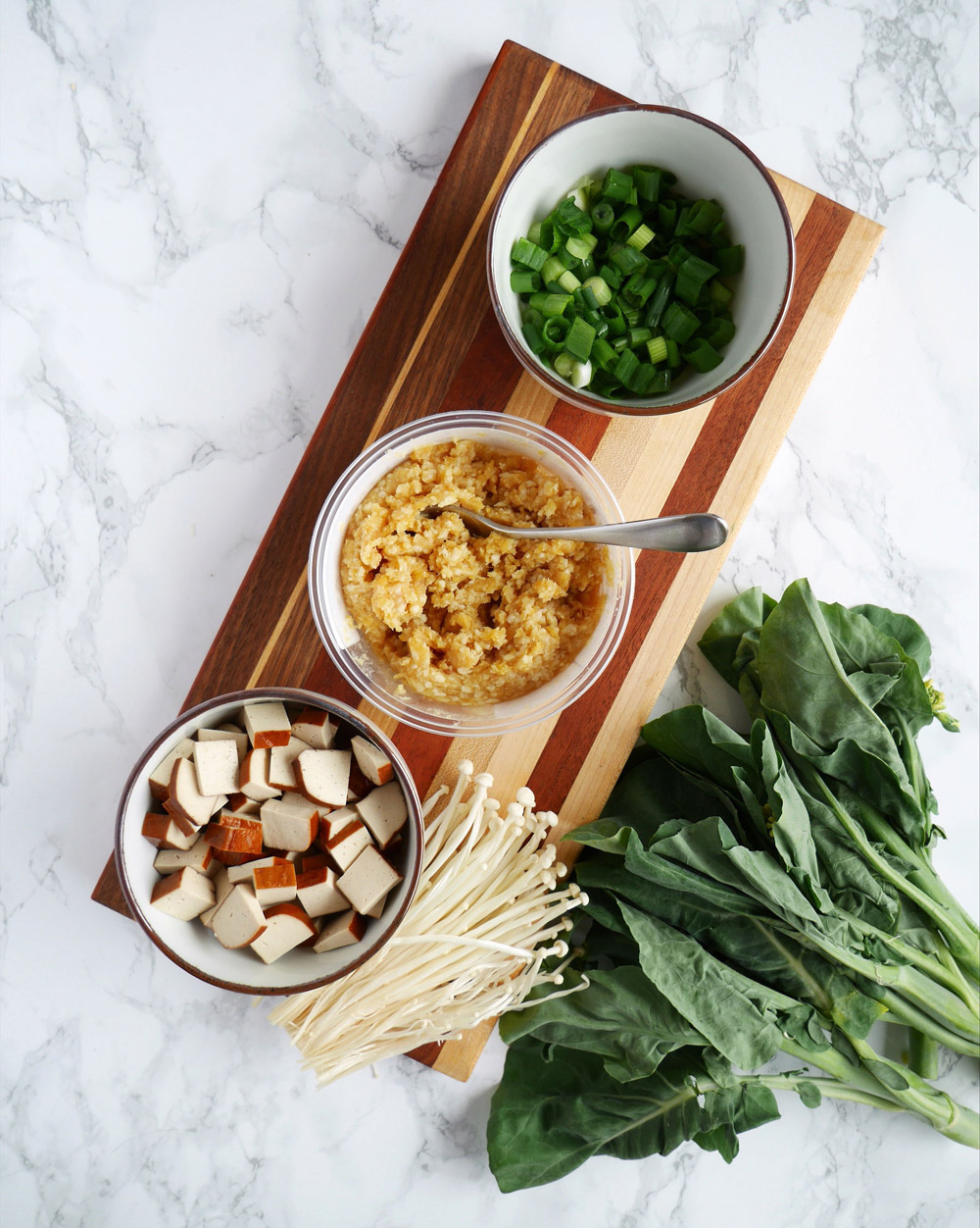 Chickpea Miso, Beancurd, Scallions, Enoki Mushroom, Chinese Broccoli