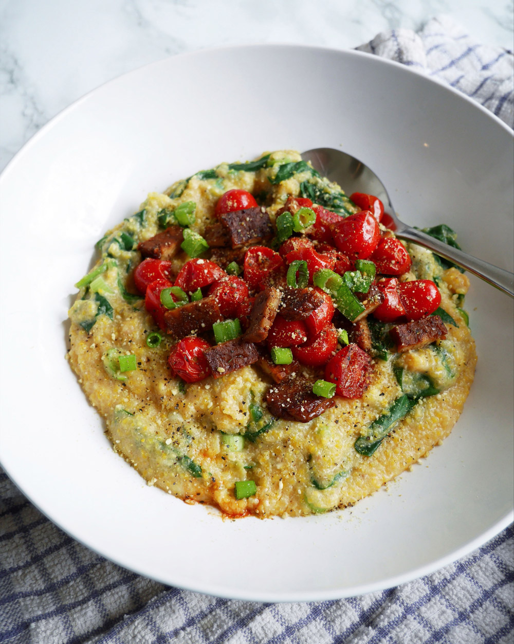 Vegan Polenta Corn Grits with Tempeh and Veggies Recipe