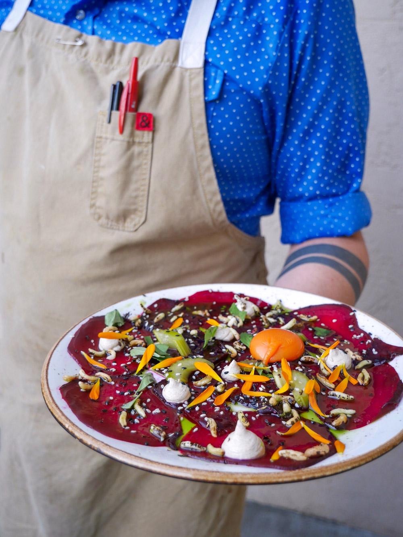 Quaintrelle, Veganizer Beet Carpaccio, Carrot Yolk