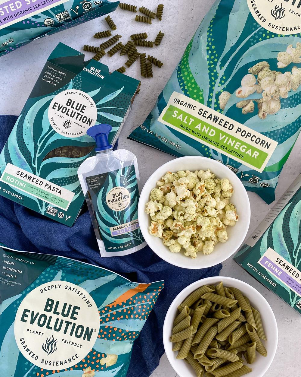 Blue Evolution Seaweed Infused Pasta, Popcorn, Kelp Puree